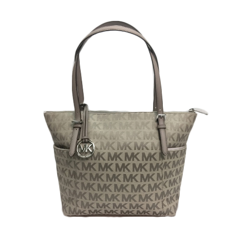 95849ff753 MICHAEL KORS Jet Set Item East West Signature Top Zip Grey PVC Tote ...