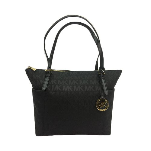 b765f38f3f MICHAEL KORS Jet Set Item East West Signature Top Zip Black PVC Tote ...