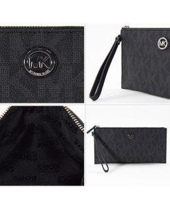 2fa1f4a1862e MICHAEL KORS Fulton Large Zip Clutch Signature Black Logo PVC 35S6SFTW7B – Your  World Of Luxury