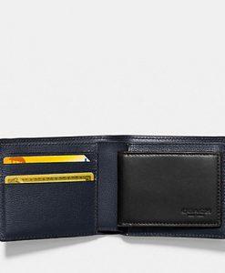 0bdd48887da21 COACH Mens Bilfold ID Wallet in Dark Saddle 3-in-1 Patchwork Leather F56599  – Your World Of Luxury
