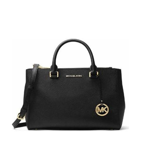 8ecda64ea2def7 MICHAEL KORS Saffiano Kellen Xs Satchel Black Leather Cross Body Bag ...